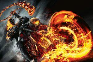 Marvel Ghost Rider digital wallpaper, fire, motorcycle, burning
