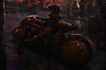 Wallpaper cyberpunk, Akira, futuristic, bikes, science fiction, digital