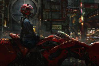 Red full-face helmet, women, digital art, cyberpunk, futuristic wallpaper