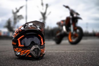 Motorcycle wallpaper, KTM, supermoto, helmet, transportation, mode of transportation