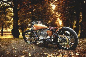 Brown and gray cruiser motorcycle, brown bobber motorcycle, Harley Davidson wallpaper