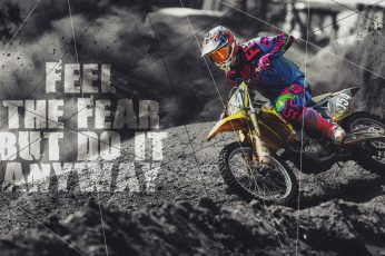 Wallpaper Yellow dirt bike with text overlay, feelings, quote, black, white