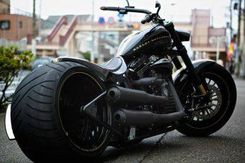 Black Harley-Davidson chopper motorcycle wallpaper, vehicle, transportation