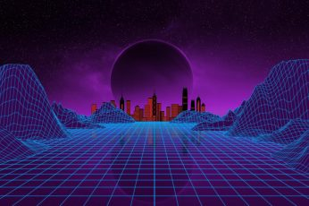 Wallpaper purple, vaporwave, 1980s, night, virtual reality, space, artistic