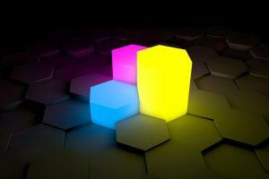 Wallpaper 3d, blocks, blue, pink, yellow, dark, abstract, hexagon, shining
