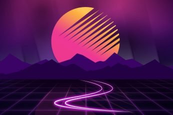 Wallpaper white and pink LED light, Retrowave, vaporwave, purple, dark background