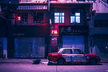 Wallpaper white and red sedan, Kowloon, Hong Kong, China, vaporwave, neon lights