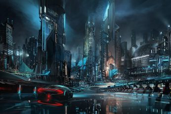 Wallpaper digital, digital art, artwork, futuristic, futuristic city