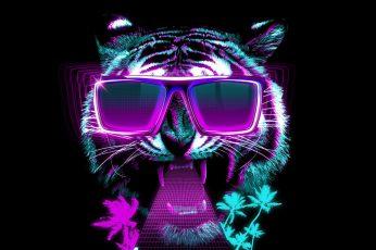 Wallpaper tiger, sunglasses, neon, graphic design, retrowave, eyewear