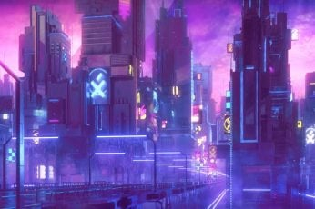 Wallpaper city animated digital wallpaper, cyberpunk, neon, night, building exterior