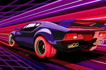 Wallpaper retrowave, car, vehicle, sports car, synthwave, 80s, 1980s