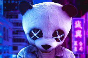 Wallpaper digital, digital art, artwork, illustration, mask, panda, Panda Mask