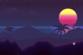 Wallpaper The sun, Music, Palm trees, Background, 80s, Neon, 80's, Synth