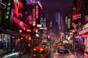 Wallpaper white vehicle, night, artwork, futuristic city, cyberpunk, science fiction