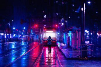 Wallpaper digital, digital art, artwork, night, city, lights, city lights