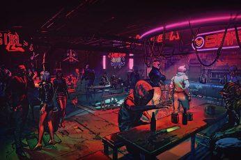 Wallpaper BAR neon signage, night, cyberpunk, futuristic city, artwork