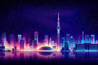 Wallpaper stars, fantasy city, art, starry, neon art, reflection, digital art