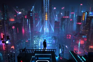 Wallpaper digital art, men, city, futuristic, night, neon, science fiction