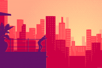 Wallpaper Alone, Building, City, Pixel Art