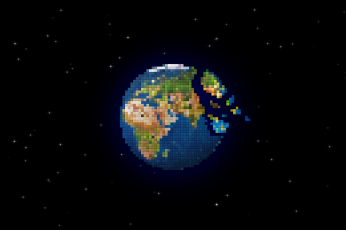 Wallpaper Earth, Pixel Art, Planet, Space