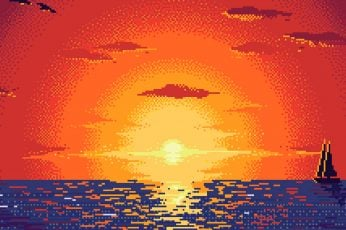 Wallpaper Boat, Ocean, Pixel Art, Sunset