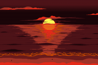 Wallpaper Red, Sun, Pixel Art, 8-Bit