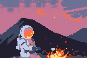 Wallpaper 8-Bit, Astronaut, Fire, Pixel Art, Spacesuit