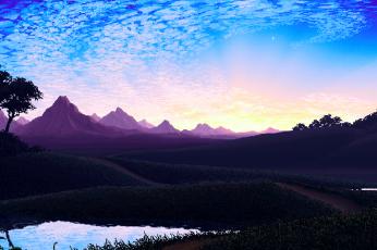 Wallpaper Blue, Lake, Landscape, Pixel, Sky, Water