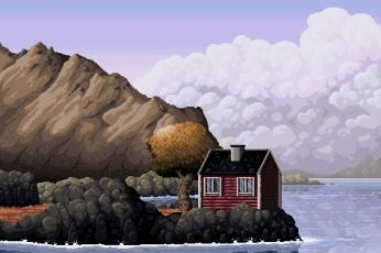 House animated 8 bit background