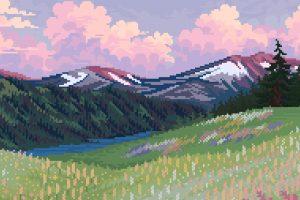 Wallpaper Landscape, Nature, Pixel Art