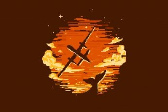 Wallpaper Airplane, Pixel Art, Sunset