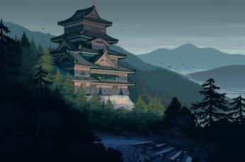 Pixel art wallpaper, Castle,  Japan, Mountain, Pixel Art