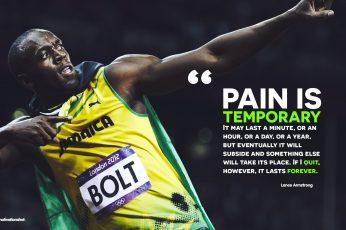 Wallpaper yellow jersey with text overlay, Usain Bolt, running, motivational