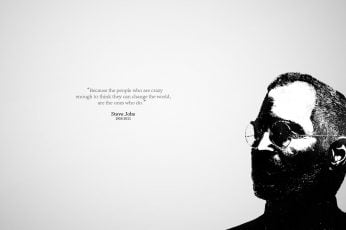 Wallpaper Steve Jobs illustration with text overlay, quote, simple background