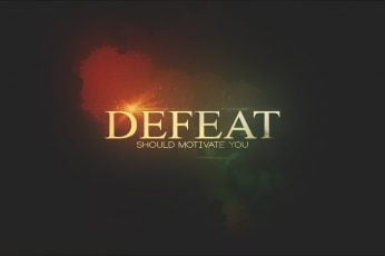 Wallpaper black and brown background with Defeat text overlay, typography
