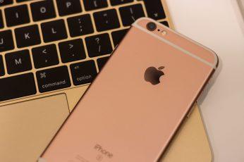 Wallpaper rose gold iPhone 6s on top of 12-inch gold MacBook, apple, macbook 12