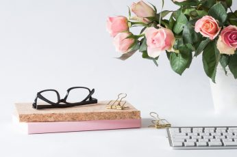 Wallpaper Eyeglasses on Book Beside Rose and Keyboard, bloom, blooming