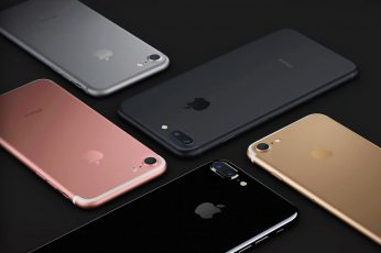Wallpaper five rose gold, silver, gold, jet black, and black iPhone 7's
