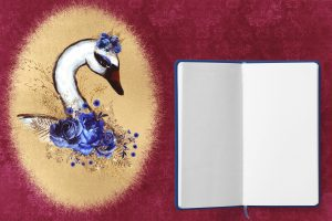 Wallpaper diary, swan, roses, frame, flowers, background, blue, gold