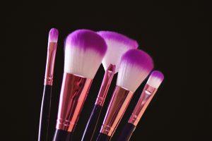 Wallpaper makeup brushes, bristles, purple, white, black, rose gold, studio shot