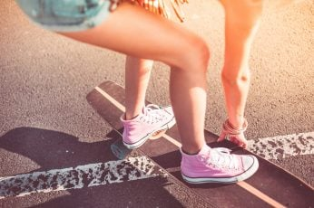 Wallpaper Young Girl with Pink Shoes on Longboard, active, crazy, enjoying