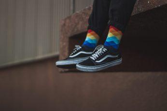 Wallpaper person wearing Vans sneakers, shoe, footwear, clothing, apparel