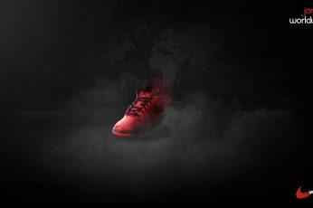 Wallpaper unpaired red and black Nike Air Jordan basketball shoe, digital art