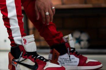 Wallpaper person wearing chicago Air Jordan 1 x Off-white, shoe, human