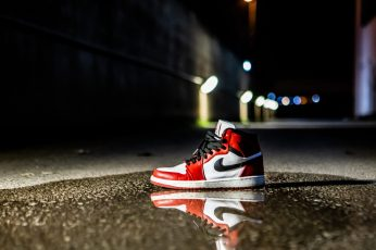 Wallpaper red and white Air Jordan 1 shoe on concrete floor, apparel, clothing