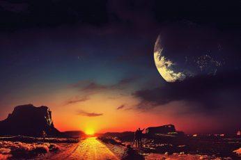 Science fiction wallpaper, concept art, stars, landscape, space, digital art
