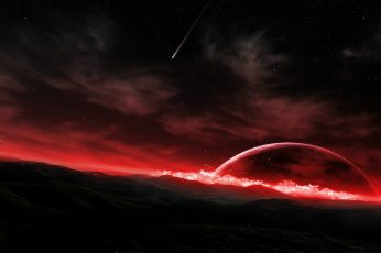 White clouds with red light digital wallpaper, space, landscape