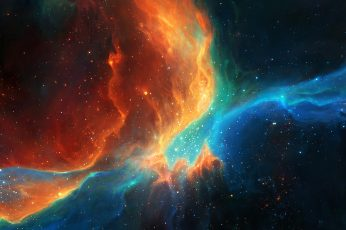 Colorful wallpaper, galaxy, space, stars, artwork, fantasy art, digital art