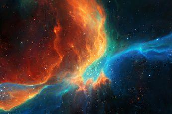 Colorful wallpaper, galaxy, space, stars, artwork, fantasy art, digital art