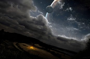 Wallpaper white sky, planet, night, artwork, clouds, space, fantasy art